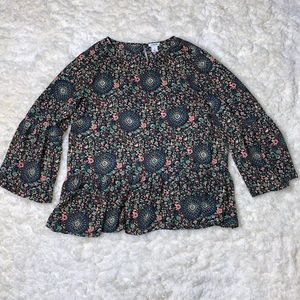 J Crew Factory Floral Bell Sleeve Blouse